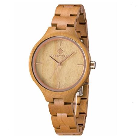 reloj madera - oro rosa