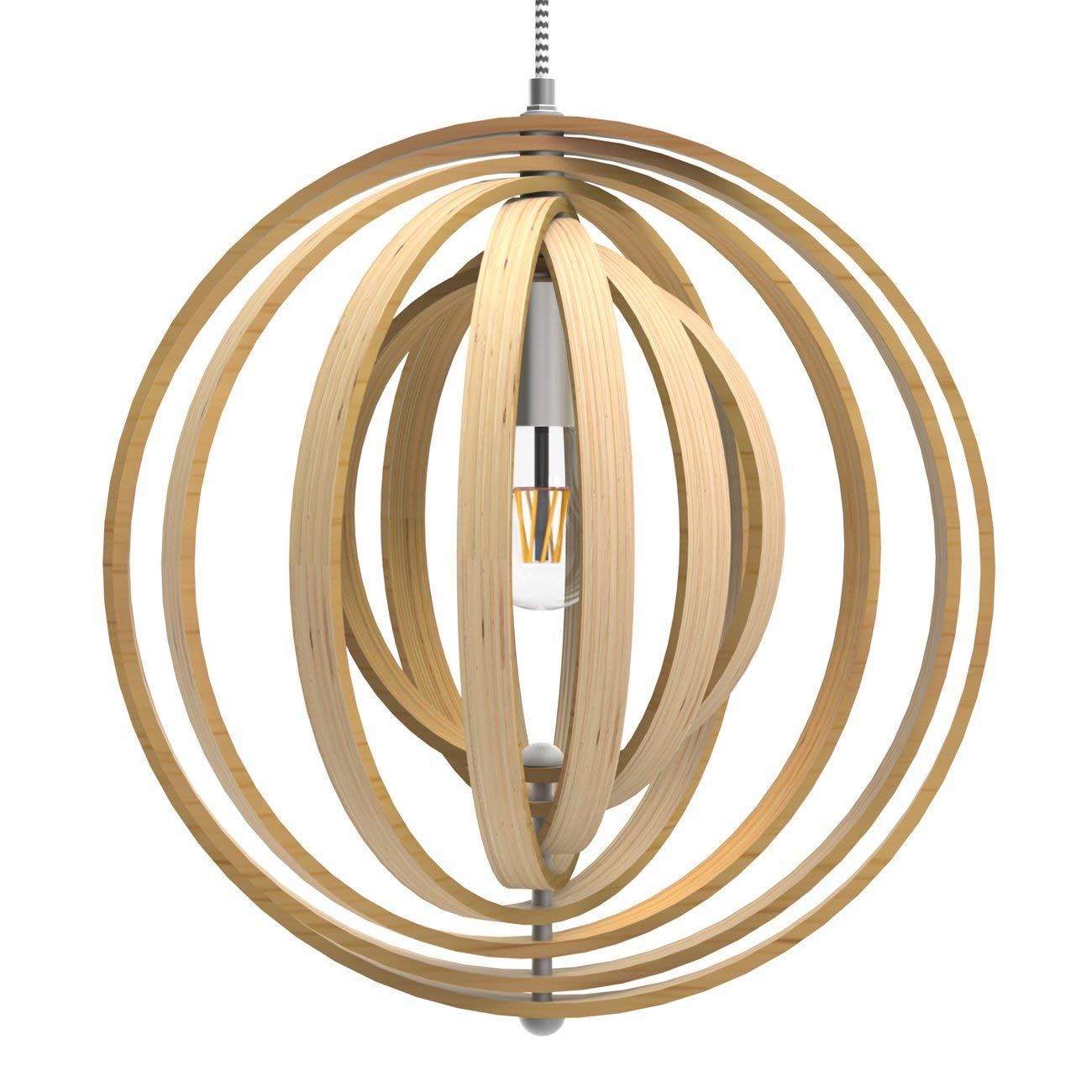 lampara esfera de madera